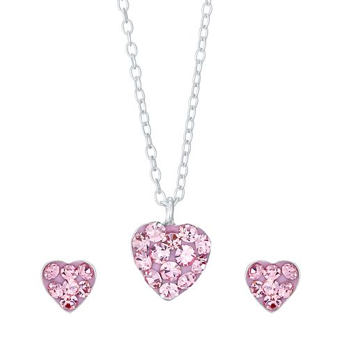 Kids Silver Pink Crystal Earrings and Pendant Set - Product number 4490134
