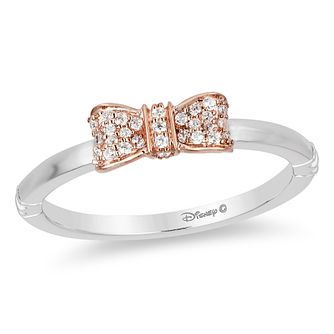 Enchanted Disney Silver & Rose Gold 1/10ct Diamond Bow Ring - Product number 4491823
