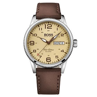 Hugo Boss Men's Stainless Steel Amber Dial Strap Watch - Product number 4492048