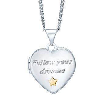 Sterling Silver & 9ct Gold 'Follow Your Dreams' Heart Locket - Product number 4492250