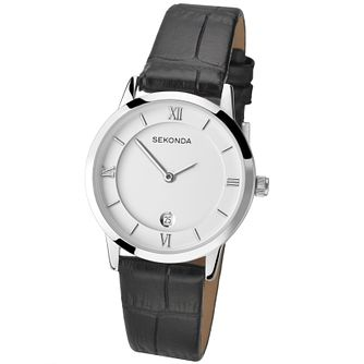 Sekonda Ladies' Silver Dial Black Leather Strap Watch - Product number 4492307