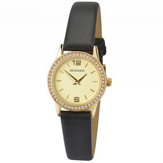 Sekonda Ladies' Stone Set Black Leather Strap Watch - Product number 4492323
