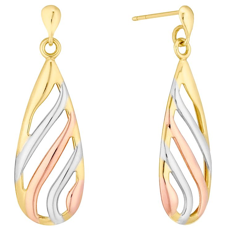 9ct Three Tone Open Stripe Drop Earrings - Product number 4492463