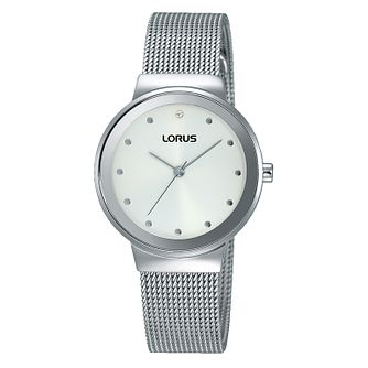 Lorus Ladies' White Dial Mesh Strap Bracelet Watch - Product number 4493567