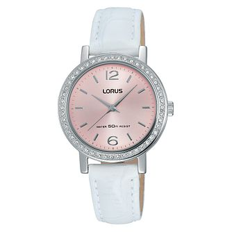 Lorus Ladies' White Leather Strap Pink Dial Watch - Product number 4493583