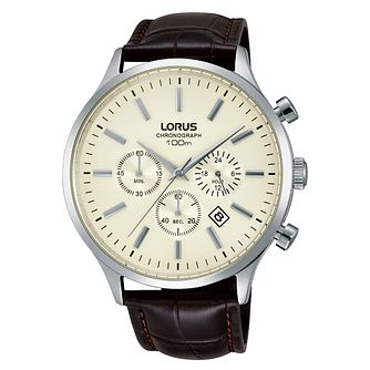 Lorus Men's Brown Leather Strap White Dial Watch - Product number 4493761