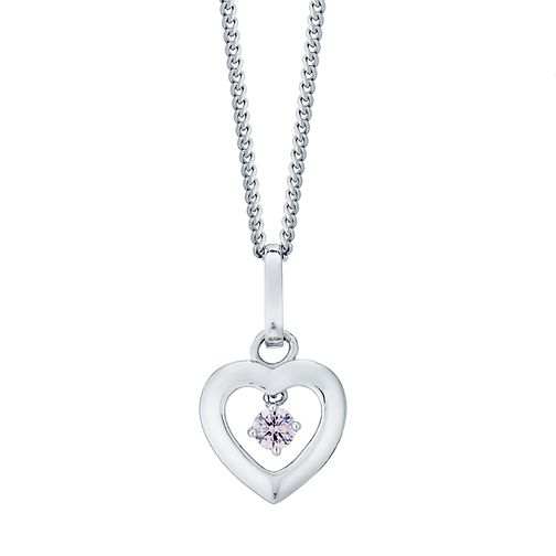 Sterling Silver Open Heart Pink Cubic Zirconia Pendant - Product number 4493826