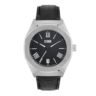 Storm Men's Hexagonal Black Dial Black Leather Strap Watch - Product number 4494156