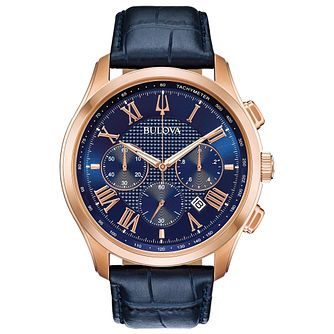 Bulova Wilton Men's Blue Leather Strap Watch - Product number 4495055