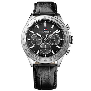 Tommy Hilfiger Men's Black Leather Strap Watch - Product number 4495152