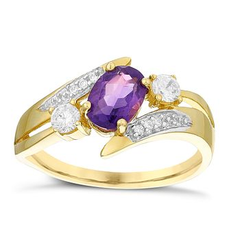 9ct Gold Amethyst & Cubic Zirconia Stacker Look Ring - Product number 4495179