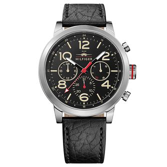 Tommy Hilfiger Men's Black Leather Strap Watch - Product number 4495543