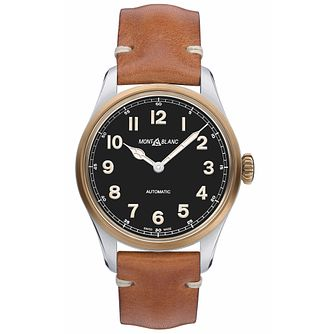 Mont Blanc 1858 Men's Brown Leather Strap Watch - Product number 4495845