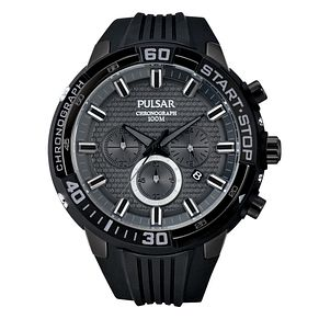 Pulsar Men's Black Silicone Strap Black Dial Watch - Product number 4499425