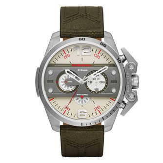 Diesel Mens Ironside Champagne Dial Green Strap Watch - Product number 4500903