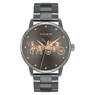 Coach Grand Ladies' Grey Ion Plated Bracelet Watch - Product number 4505301