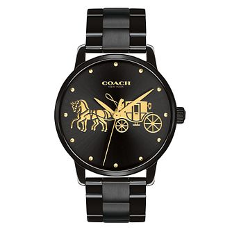 Coach Grand Ladies' Black Ion Plated Bracelet Watch - Product number 4505328