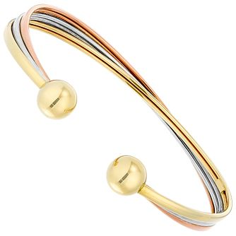 9ct Three Colour Twisted Torque Bangle - Product number 4507339