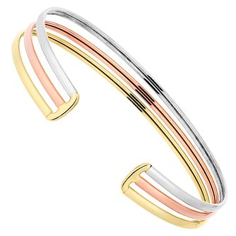 9ct Gold 3 Colour Triple Row Cuff Bangle - Product number 4507347