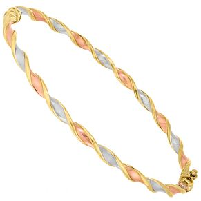 9ct Three Tone Twisted Hinged Bangle - Product number 4507355