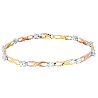 9ct Gold 3 Colour Cubic Zirconia Set Figure Of 8 Bracelet - Product number 4507371