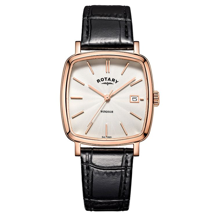 Rotary Men's Rose Gold-Plated Black Leather Strap Watch - Product number 4507622