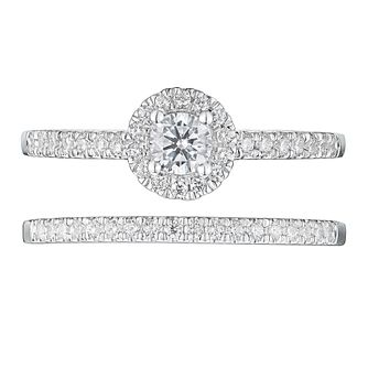 Tolkowsky 18ct White Gold 1/2ct Diamond Halo Bridal Set - Product number 4508114
