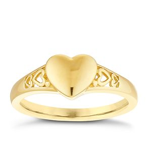 9ct Gold Heart Ring Size J - Product number 4508505