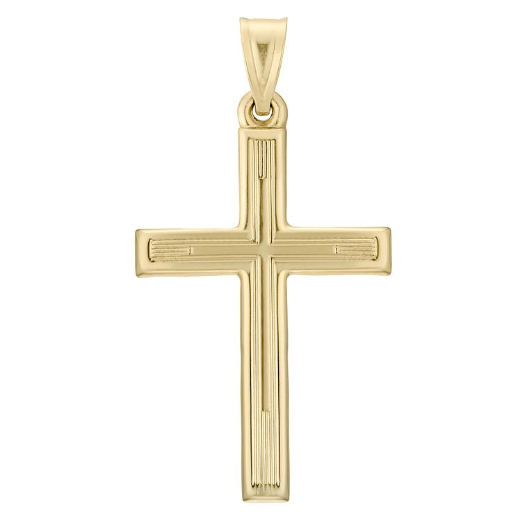 9ct Gold Hollow Cross Pendant Without Chain - Product number 4508963