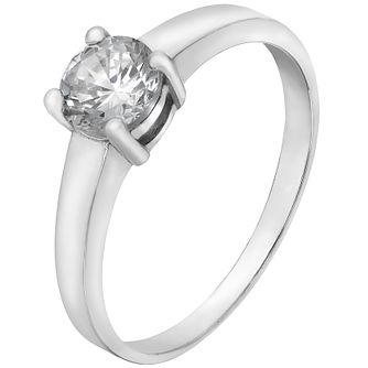 Sterling Silver & Cubic Zirconia Solitaire Ring Size N - Product number 4509188