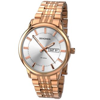 Sekonda Men's Silver Dial Rose Gold-Plated Bracelet Watch - Product number 4509765