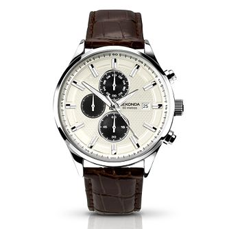 Sekonda Men's Silver Multi Dial Brown Leather Strap Watch - Product number 4509838