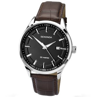 Sekonda Men's Black Dial Brown Leather Strap Watch - Product number 4509846