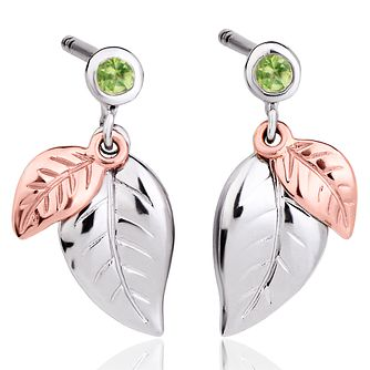 Clogau Sterling Silver & Awelon Gold Leaf Design Earrings - Product number 4509897