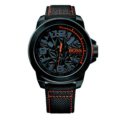 Boss Orange Men's Black Dial Black Canvas Strap Watch - Product number 4510046