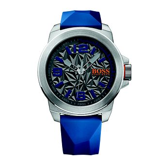 Boss Orange Men's Grey Dial Blue Rubber Strap Watch - Product number 4510062