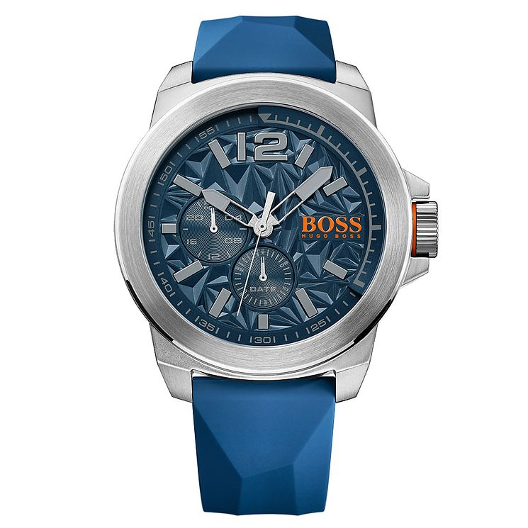 Boss Orange Men's Blue Multi Dial Blue Rubber Strap Watch - Product number 4510070