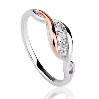 Clogau Sterling Silver & Gold White Topaz Twist Ring - Product number 4510550