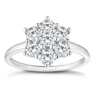 9ct White Gold Cubic Zirconia Flower Ring - Product number 4514777