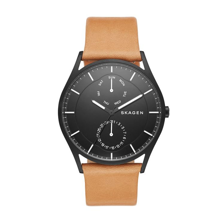 Skagen Men's Black Dial Brown Leather Strap Watch - Product number 4515269
