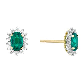 9ct Yellow Gold Emerald and Cubic Zirconia Earrings - Product number 4515900