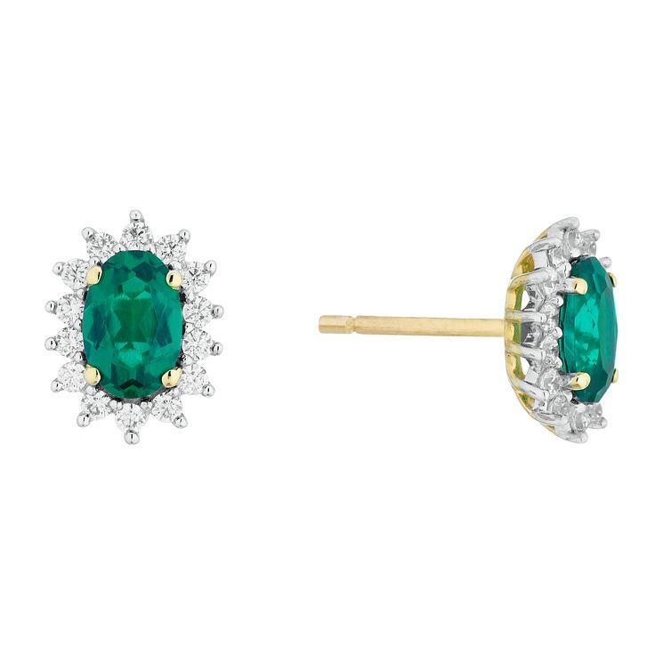 9ct Gold Emerald cut Pink Cubic Zirconia short Drop Earrings 2EsGNJwT23