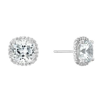 9ct White Gold Cushion Halo Stud Earrings - Product number 4516036
