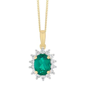 9ct Yellow Gold Emerald and Cubic Zirconia Cluster Pendant - Product number 4516133
