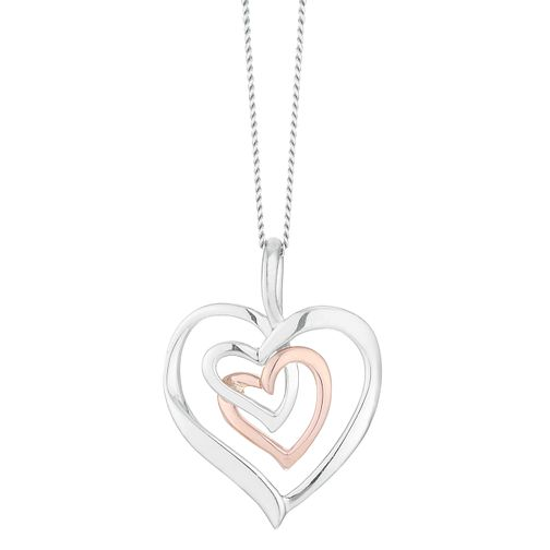 9ct Rose Gold and Silver Heart Pendant - Product number 4516214