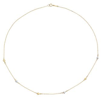 9ct Yellow Gold and Rhodium Triangle Accented Necklace - Product number 4516370