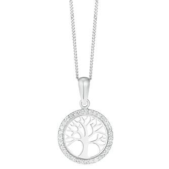 9ct White Gold Cubic Zirconia Tree of Love Pendant - Product number 4517288