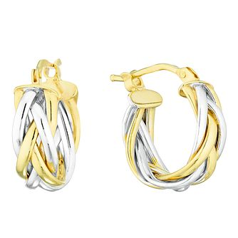 9ct Yellow and White Gold Creole Earrings - Product number 4517512