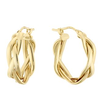 9ct Yellow Gold Plait Creole Earrings - Product number 4517520