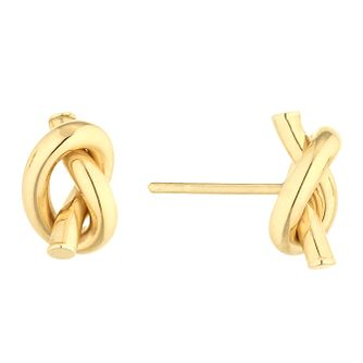 9ct Yellow Gold Hand Tied Knot Stud Earrings - Product number 4517644